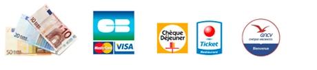 Espèces, Carte bancaire, Chèque déjeuner, Ticket restaurant