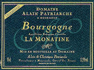 Bourgogne blanc AOP - La Monatine cuvée 2017